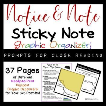 Notice  Note Signposts Post It Note Template Graphic Organizers