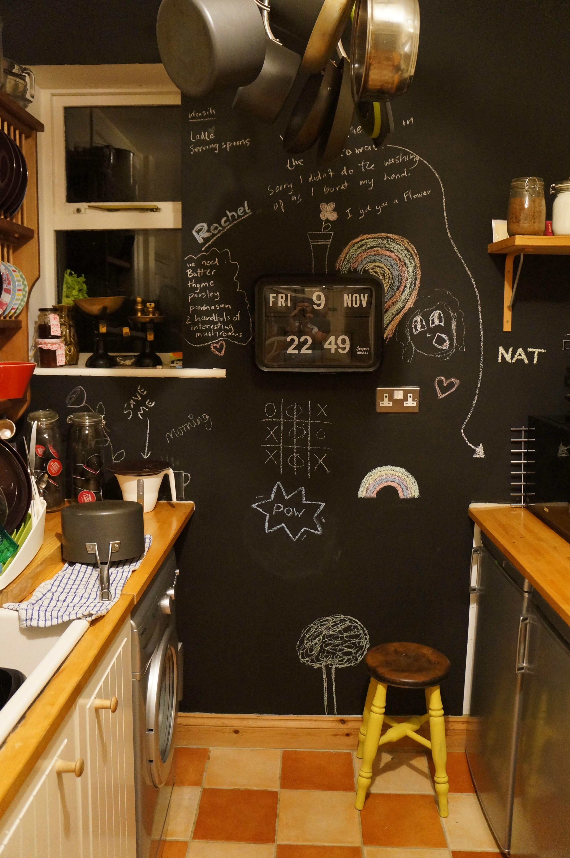 Kitchen Blackboard Chalkboard Wall Hanging Pots Pot Rack