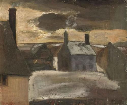 A snow covered village - Constant Permeke