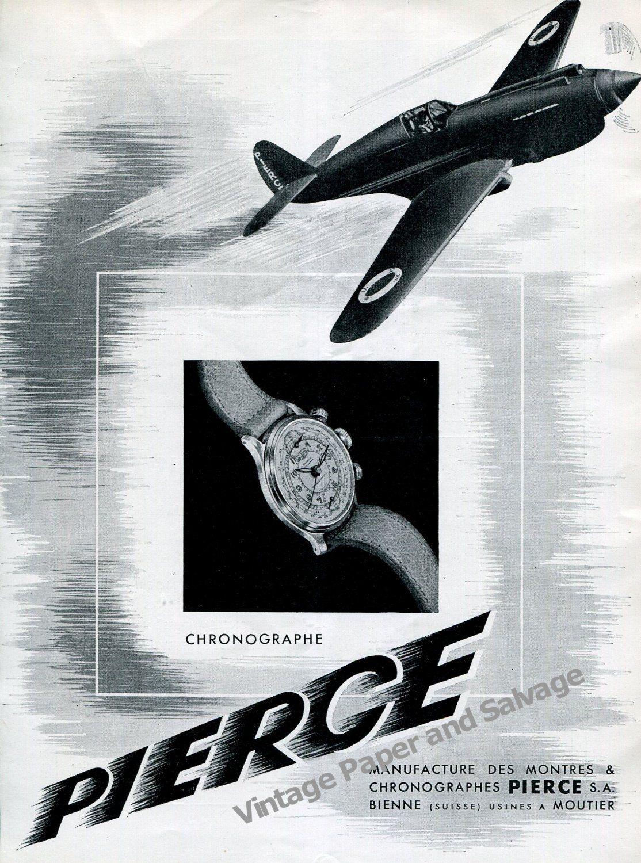 Vintage+1942+Pierce+Chronograph+Watch+Advert+1940s+Swiss+Ad+