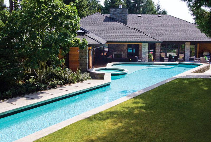 this hybrid swimming pool design combines the family's need for an