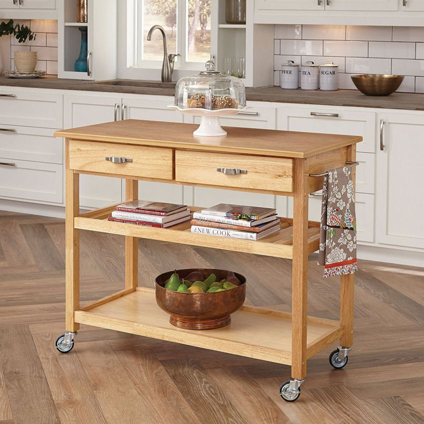 Home Styles 5216 95 Solid Wood Top Kitchen Cart Natural Finish Kitchen Island Cart Kitchen Island On Wheels Kitchen Dining Furniture