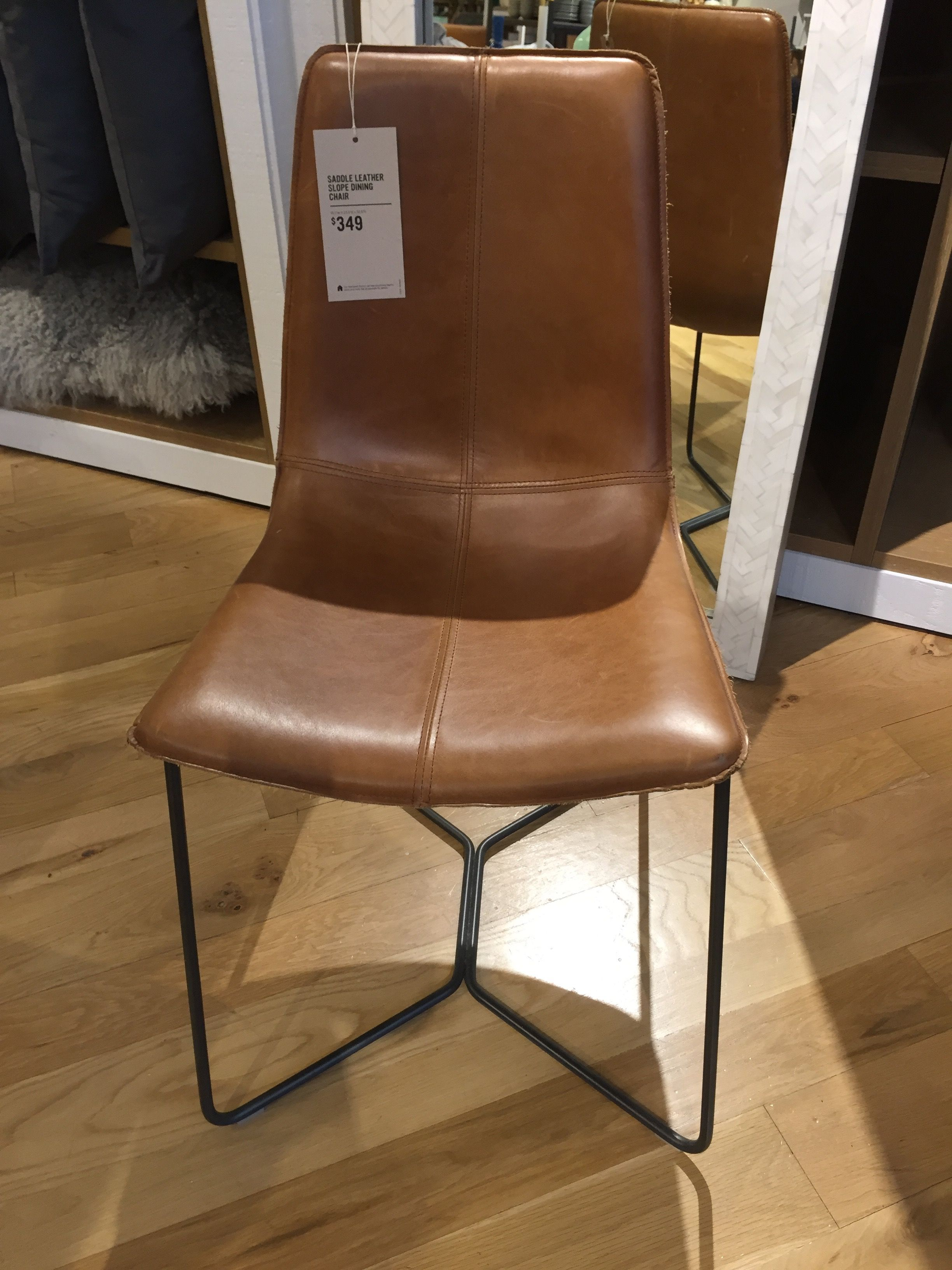 Saddle Leather Slope Dining Chair West Elm Small Leather
