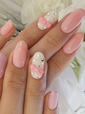Baby Pink So Cute For A Girl Baby Shower Bow Nail Designs Pink Nail Art Bow Nail Art