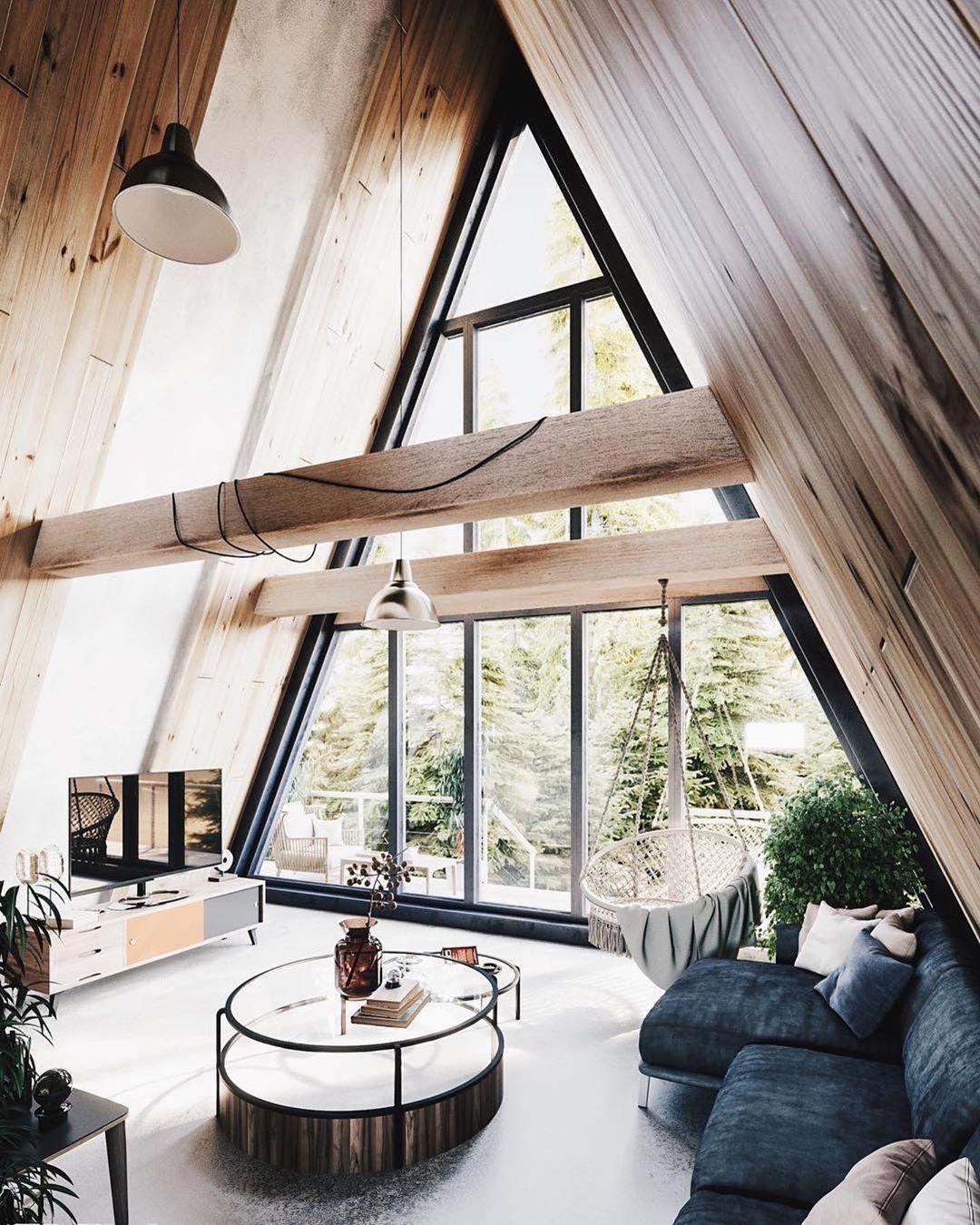 Wood Interior Design Ideas On Instagram Kak Vam Dizajn This Cabin Is Visualized For Sk Architekci The Vi A Frame House Cabin Design Home