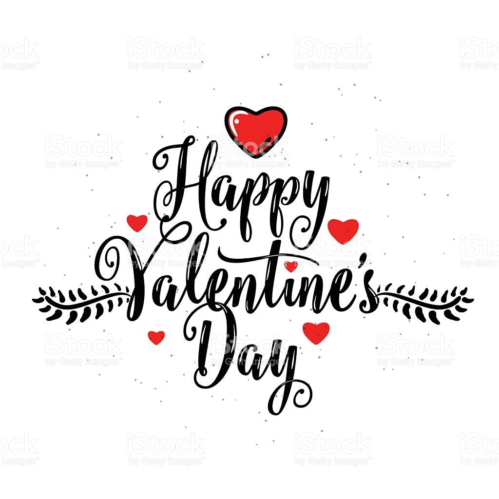 Vector Illustration Of Happy Valentines Day Lettering Greeting