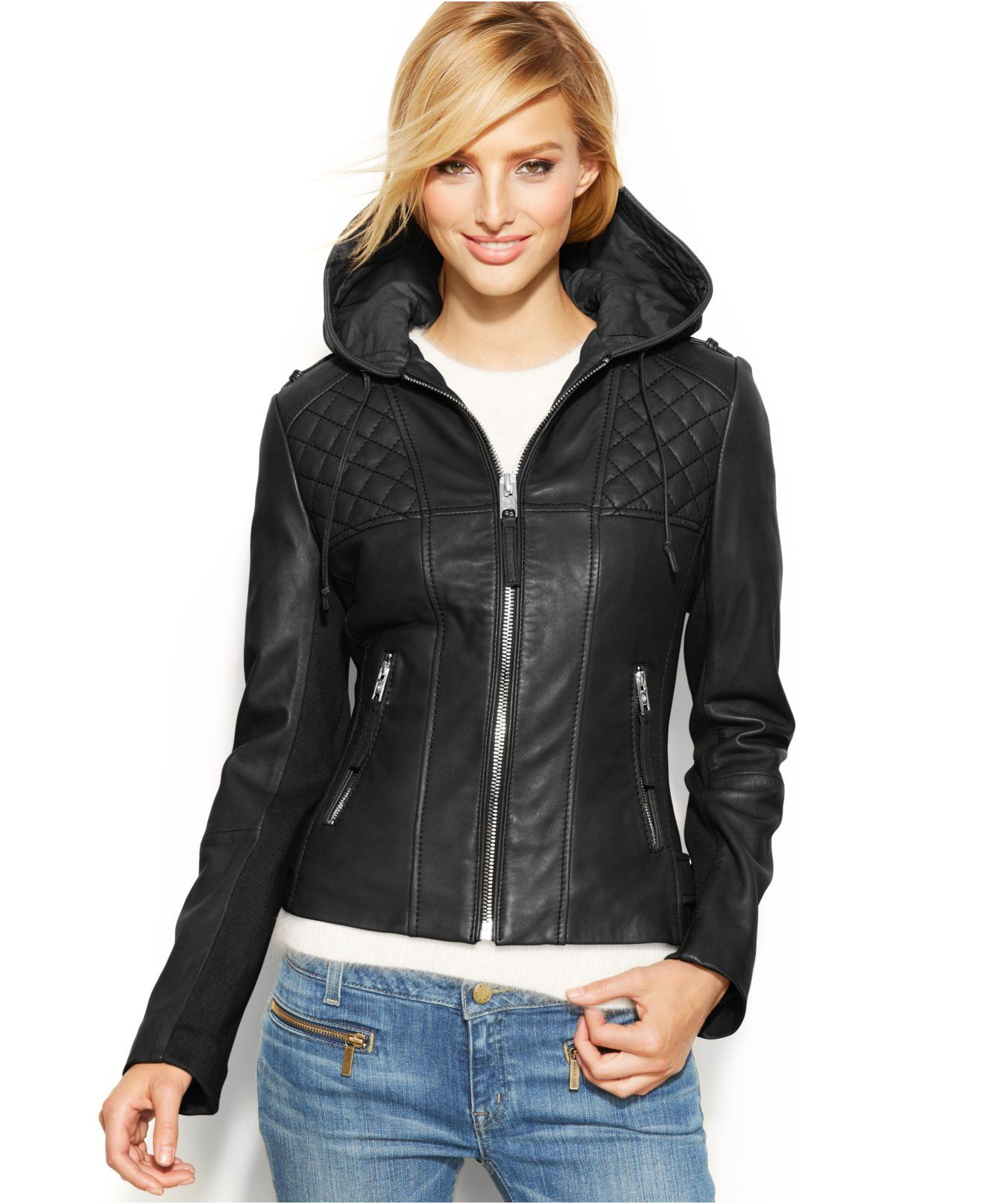 MICHAEL Michael Kors Hooded Leather Motorcycle Jacket 269