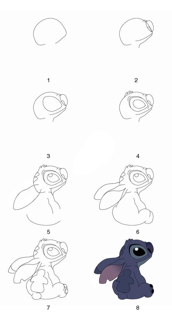 Stich Schritt Fur Schritt Zeichnen Zeichnen Zeichnungen Comicfiguren Zeichnen