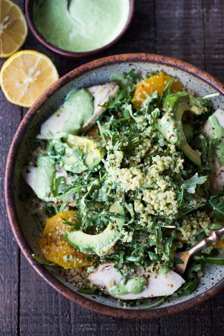 Lemony Chicken Arugula Quinoa Salad Recipe Protein Salad