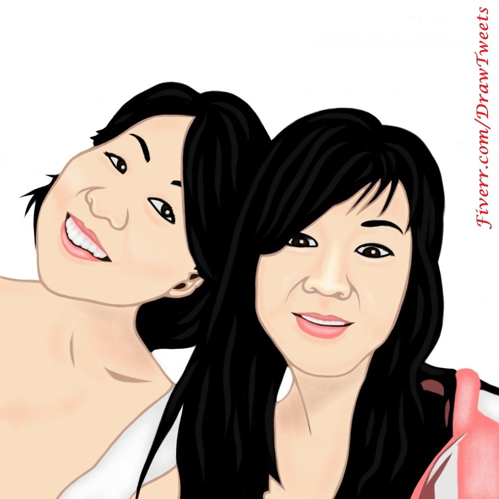 Gorgeous Mother and Daughter having Fun - An art piece inspired by Judy Kang's Facebook post for her Mom's birthday. Let us draw You on Fiverr.com/DrawTweets