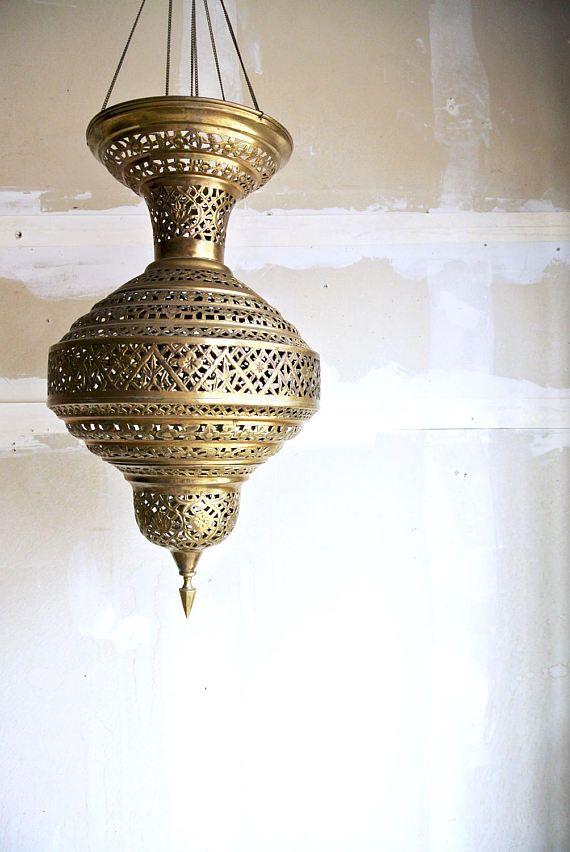 Stunning Vintage Brass Moroccan Pierced Hanging By Theerabbithole Vintage Brass Hanging Lanterns Hanging Fixture