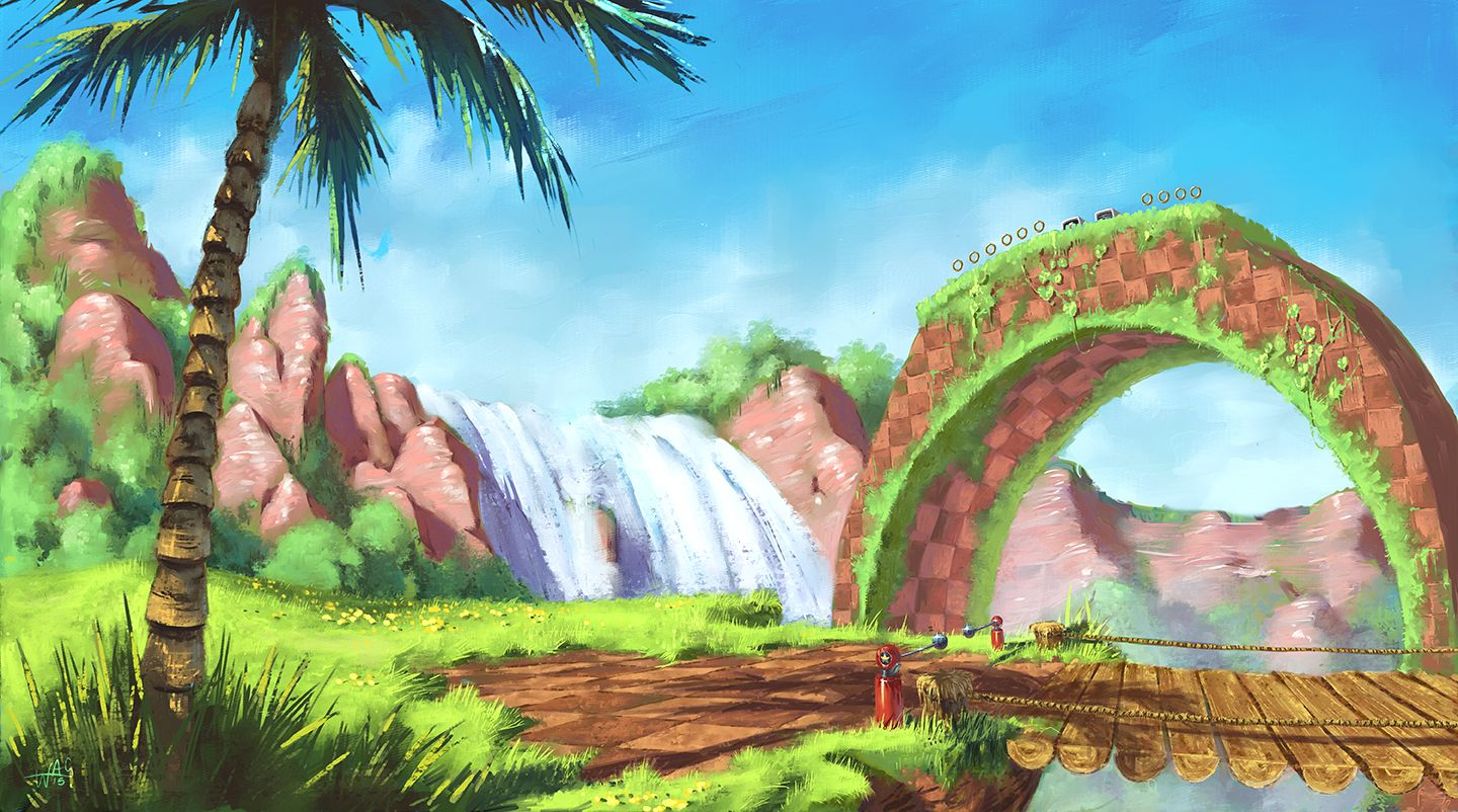 Green Hill Zone By Wilustra R Imaginarymindscapes Classic Sonic Minecraft Wallpaper Sonic The Hedgehog