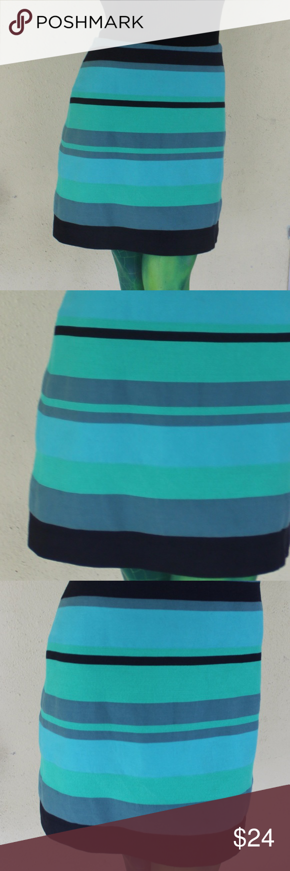 "Ann Taylor LOFT striped skirt Lovely shorter pencil skirt with stripes of green, gray, turquoise, and black. Invisible back zipper Fully lined. 92% cotton, 8% nylon. Lining 100% acetate. Length from waist: 17.5"" Create your own bundle for additional savings! LOFT Skirts"
