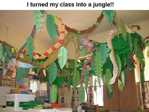 Pin By Jennifer Wright On Library Display Ideas Jungle Theme Classroom Rainforest Theme Jungle Decorations