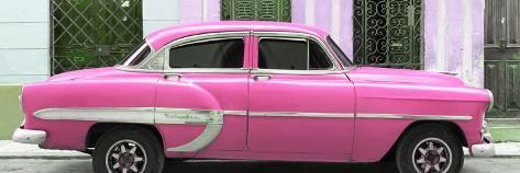 Cuba Fuerte Collection Panoramic – Pink Bel Air Classic Car Photographic Print by Philippe Hugonnard | Art.com