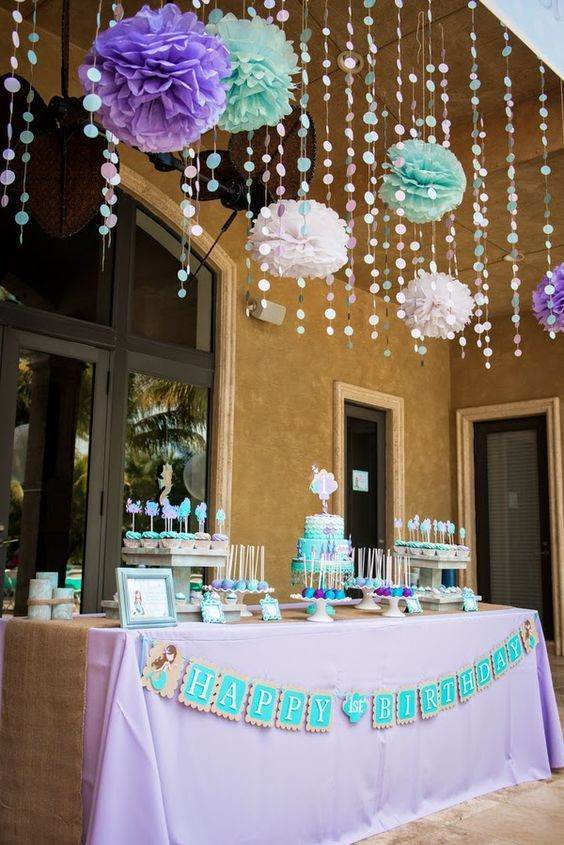 Gorgeous Little Mermaid birthday party decorations in purple aqua and white. & The (very) Little Mermaid | Pinterest | Mermaid birthday Mermaid ...