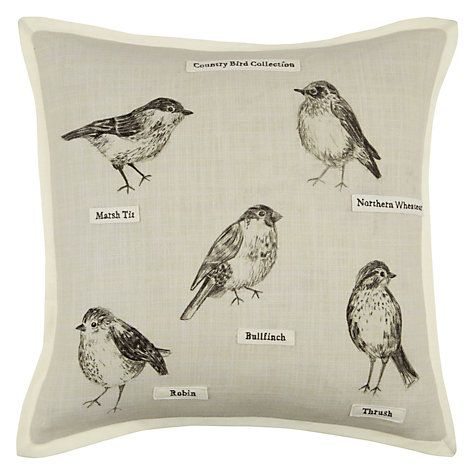 This delightful cushion features detailed drawings of British birds, Name tags sewn beneath each one, in the style of a collector, give an attractive added touch #johnlewishome