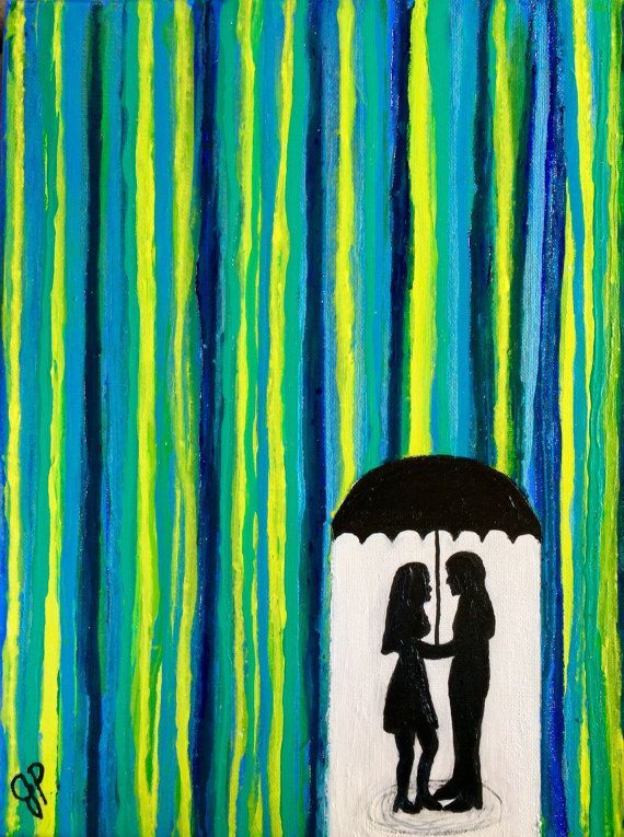 Back in stock! Romantic painting of silhouette couple under by ColoradoColors -- $89 Prints $22!