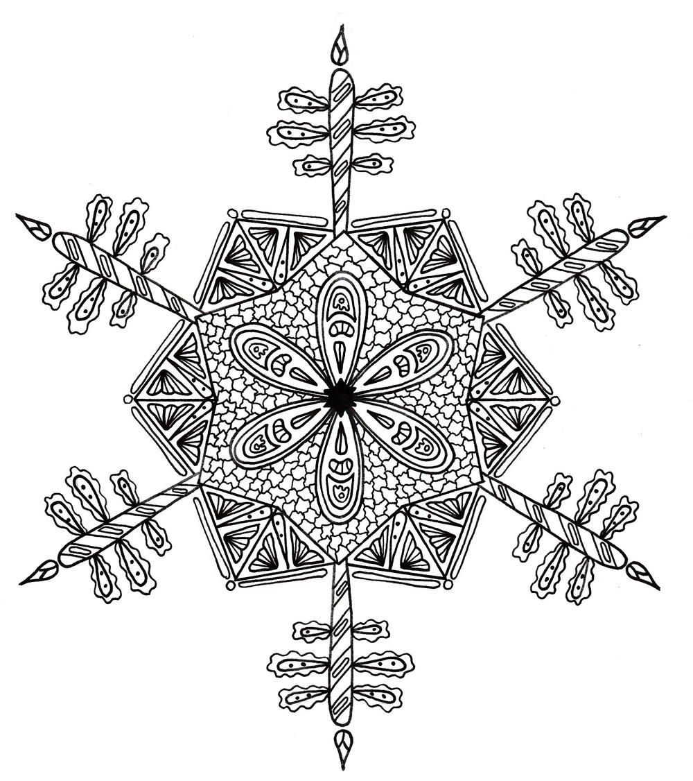 Intricate Snowflake Adult Coloring Page Adult coloring