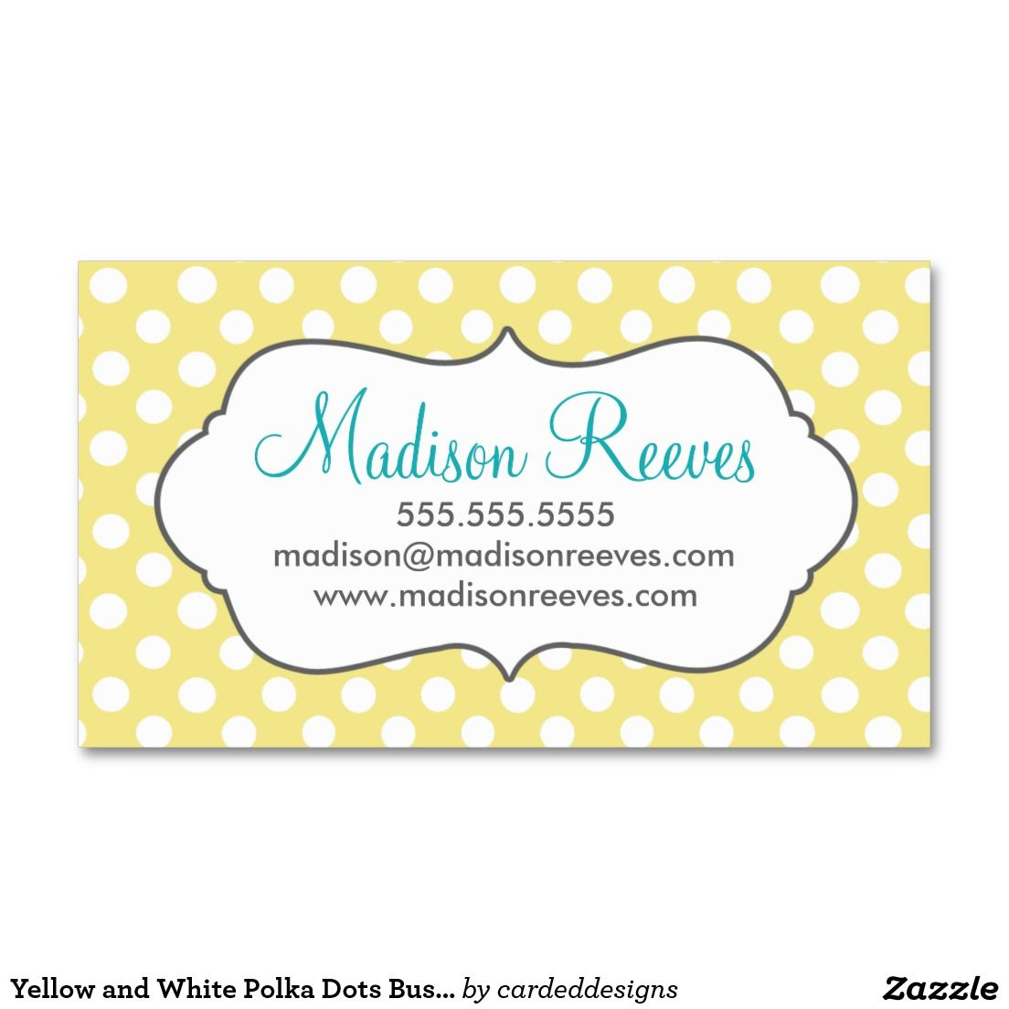 Yellow and White Polka Dots Business Card Template | Card templates ...
