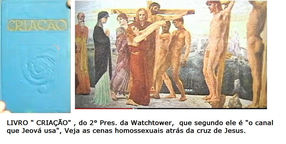 Cena Da Morte De Jesus Num Livro Do 2 Pres Da Watchtower Onde Aparecem Dois Homens Nus Em Cenas Homosssexuais Atras Da Cruz De Jesus Art Painting