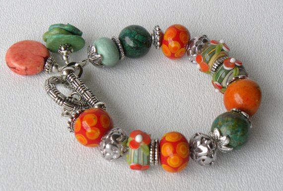 Happy Mango Handmade Beaded Bracelet by bdzzledbeadedjewelry, $34.00