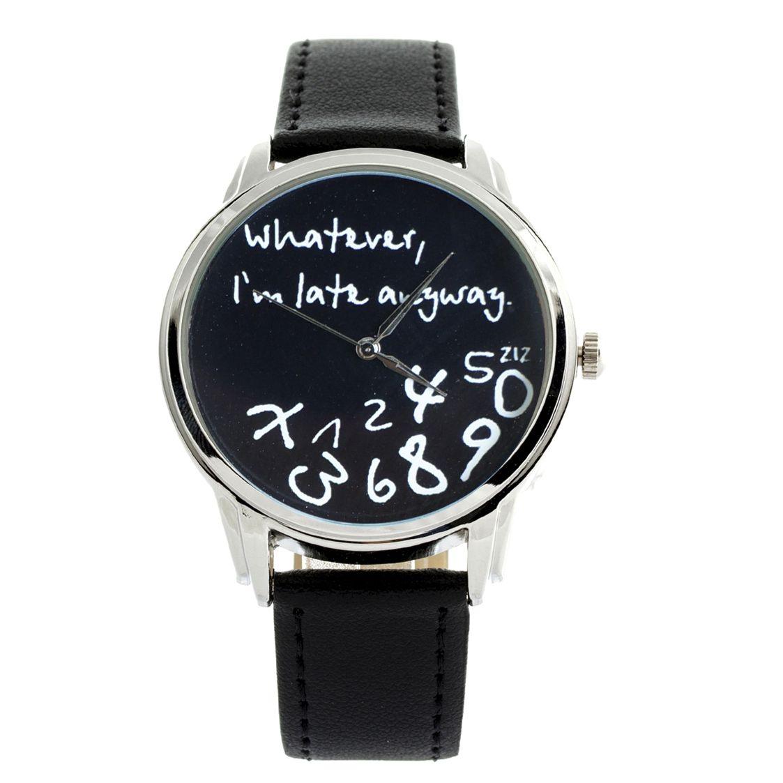 Black 'Whatever, I'm late anyway' ziz watch | ZIZ iz TIME