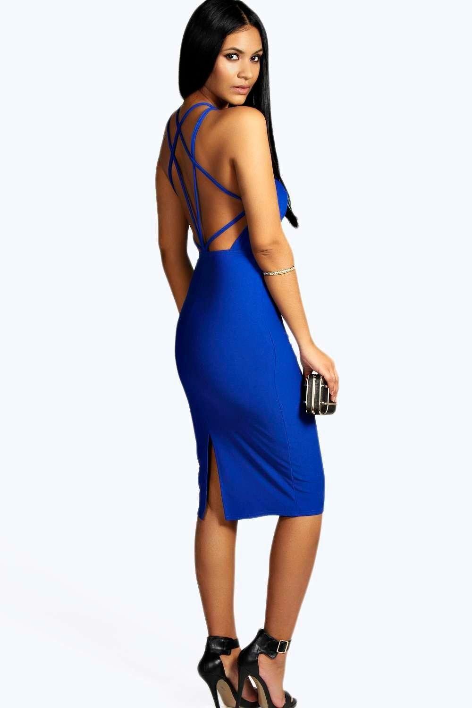 Patsy Crepe Strappy Back Midi Bodycon Dress  070b38650020