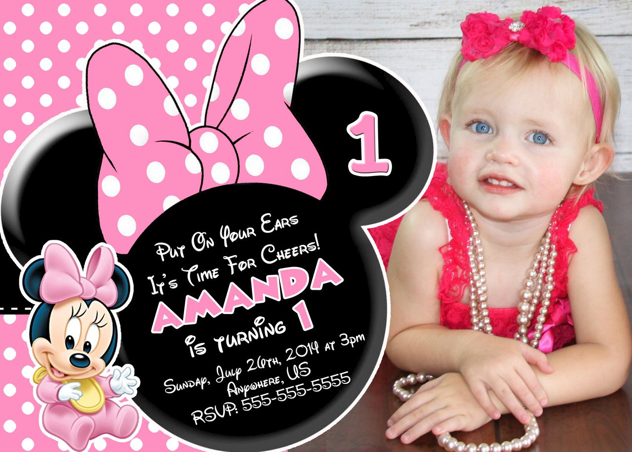 Baby Minnie Mouse 1st Birthday Photo Invitations