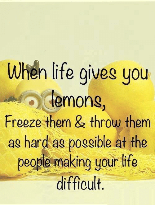 When Life Gives You Lemons Freeze Them Throw Them As Hard As Possible At The People Makin Inspirational Humor Funny Inspirational Quotes Inspirational Quotes