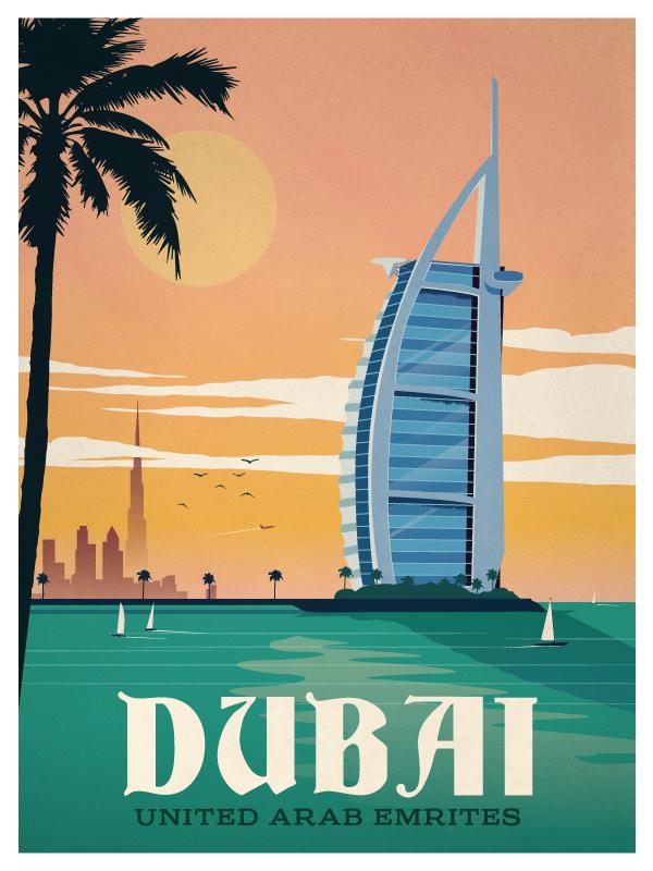Vintage Dubai Poster Travel Posters Pinterest Travel