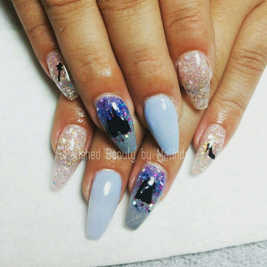 Cinderella Themed Acrylic Nails Polishedbeautybymelinda Notpolish Disneynails Nails Acrylic Nails Disney Nails