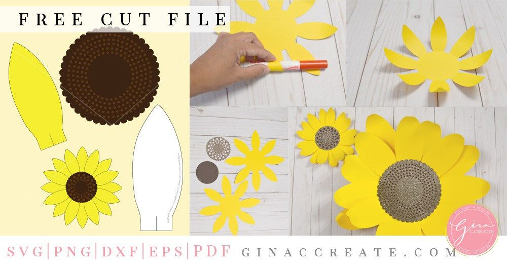 Diy Paper Sunflower With Free Svg Template Flower