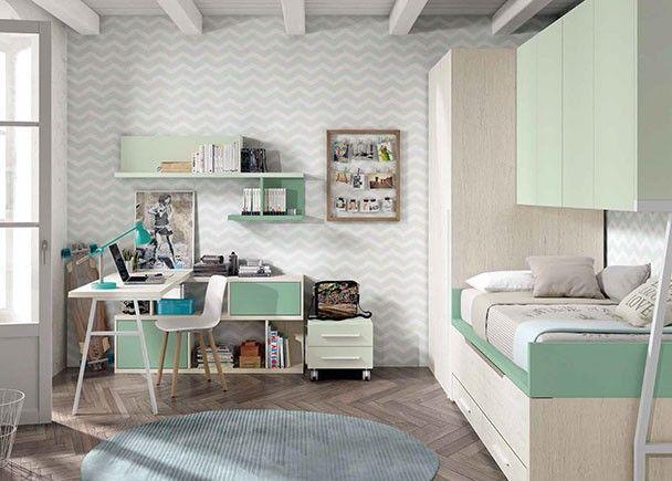 Habitación infantil con bicama y armario cabina.