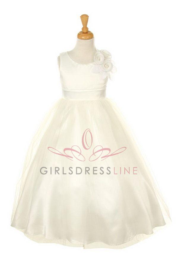 Ivory+Dull+Satin+Long+Tulle+Flower+Girl+Dress+B1111-IV+B1111-IV+$48.95+on+www.GirlsDressLine.Com