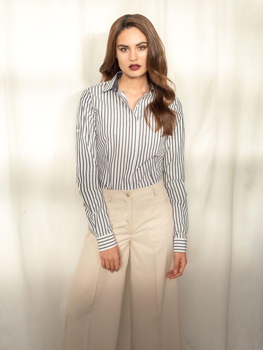 2be8dcfa02479 Black striped shirt and modern beige pants (Sumissura.com ...