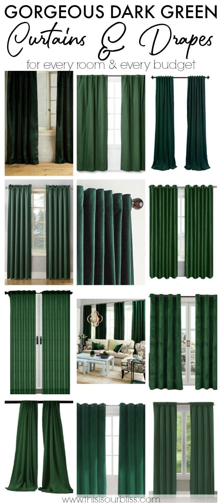 Ten Drop Dead Gorgeous Dark Green Drapes Dark Green Rooms Green