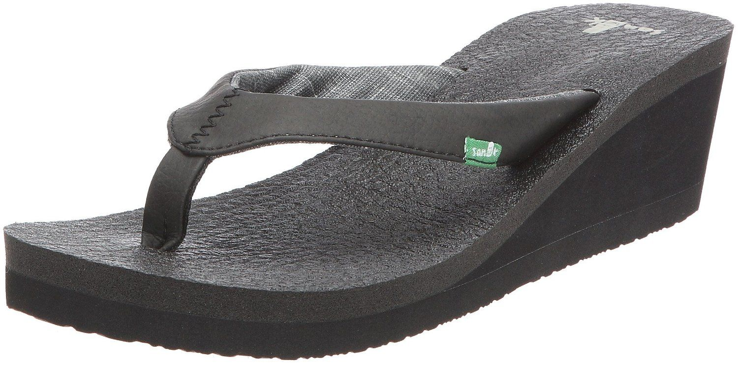 Sanuk Women's Yoga Sling Wedge Flip Flop, Black, 9 M US