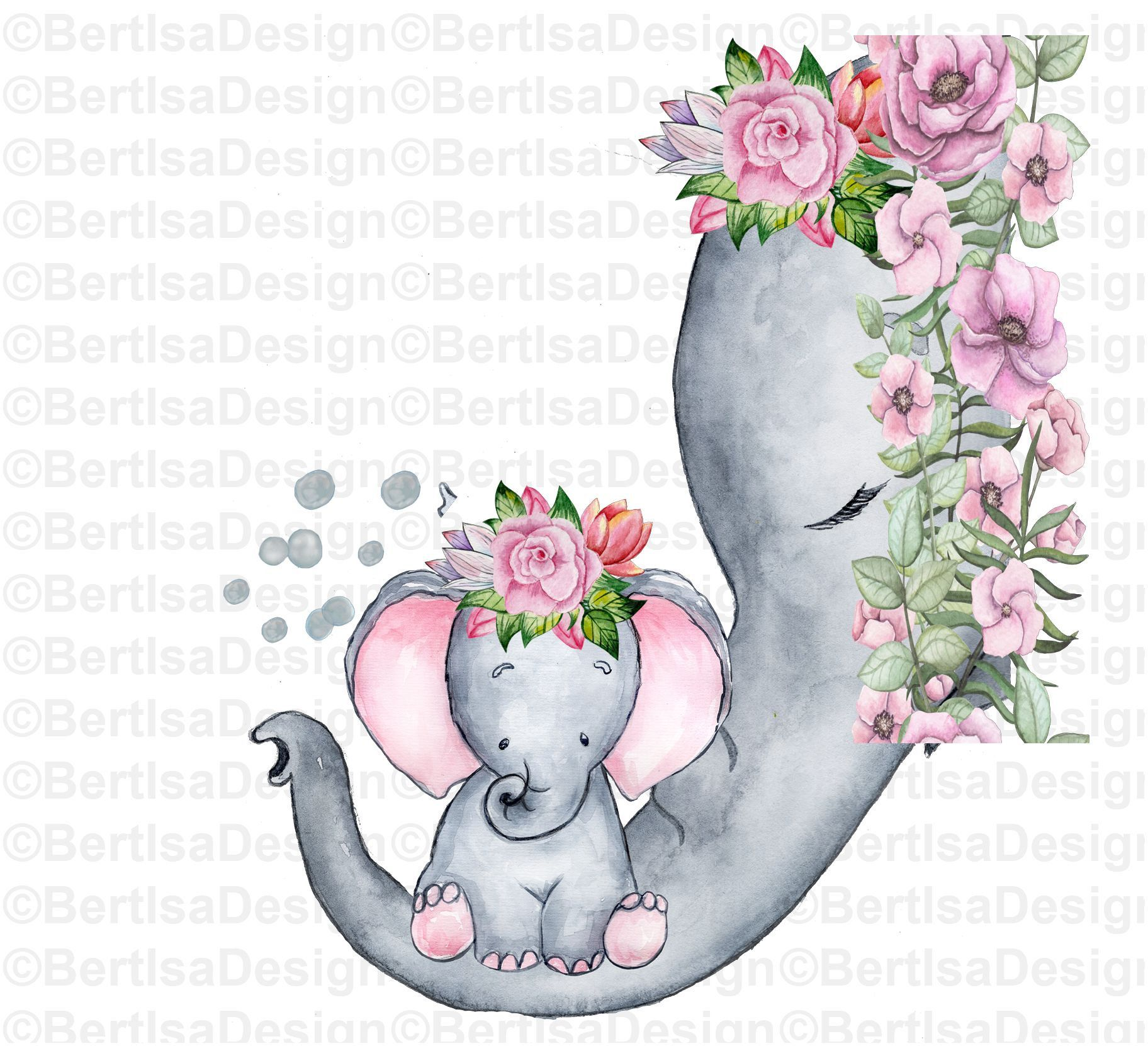 Elephant Clipart Mother And Baby Elephant Png Sublimation Design Watercolor Baby Elephant Floral Clipart Digital Download Printable Mother And Baby Elephant Clip Art Watercolor Elephant
