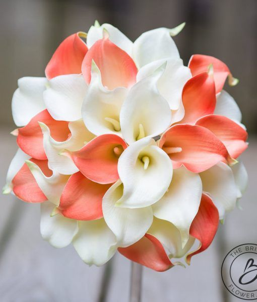 Coral Bridal Bouquets Coral Calla Lilies Ivory Callas Real Touch flowers Wedding Bridesmaids Bouquets Boutonnieres