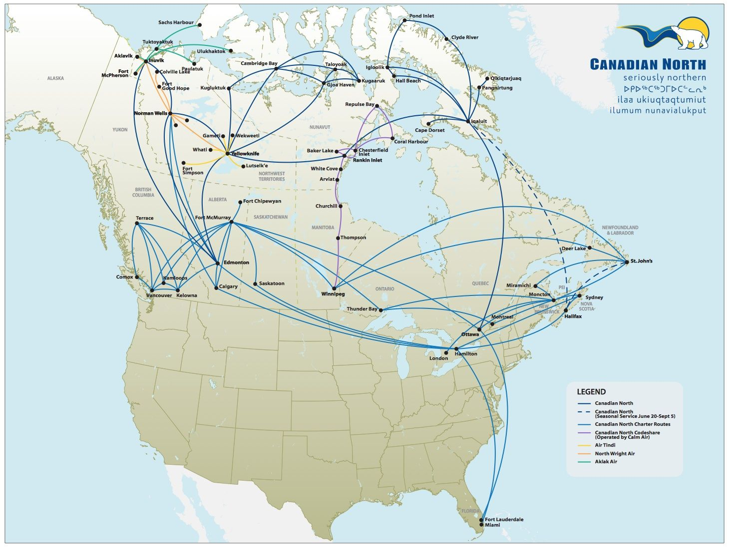 Canada Air Route Map Canadian North & Associates Route Map 2014 | Route map, Map