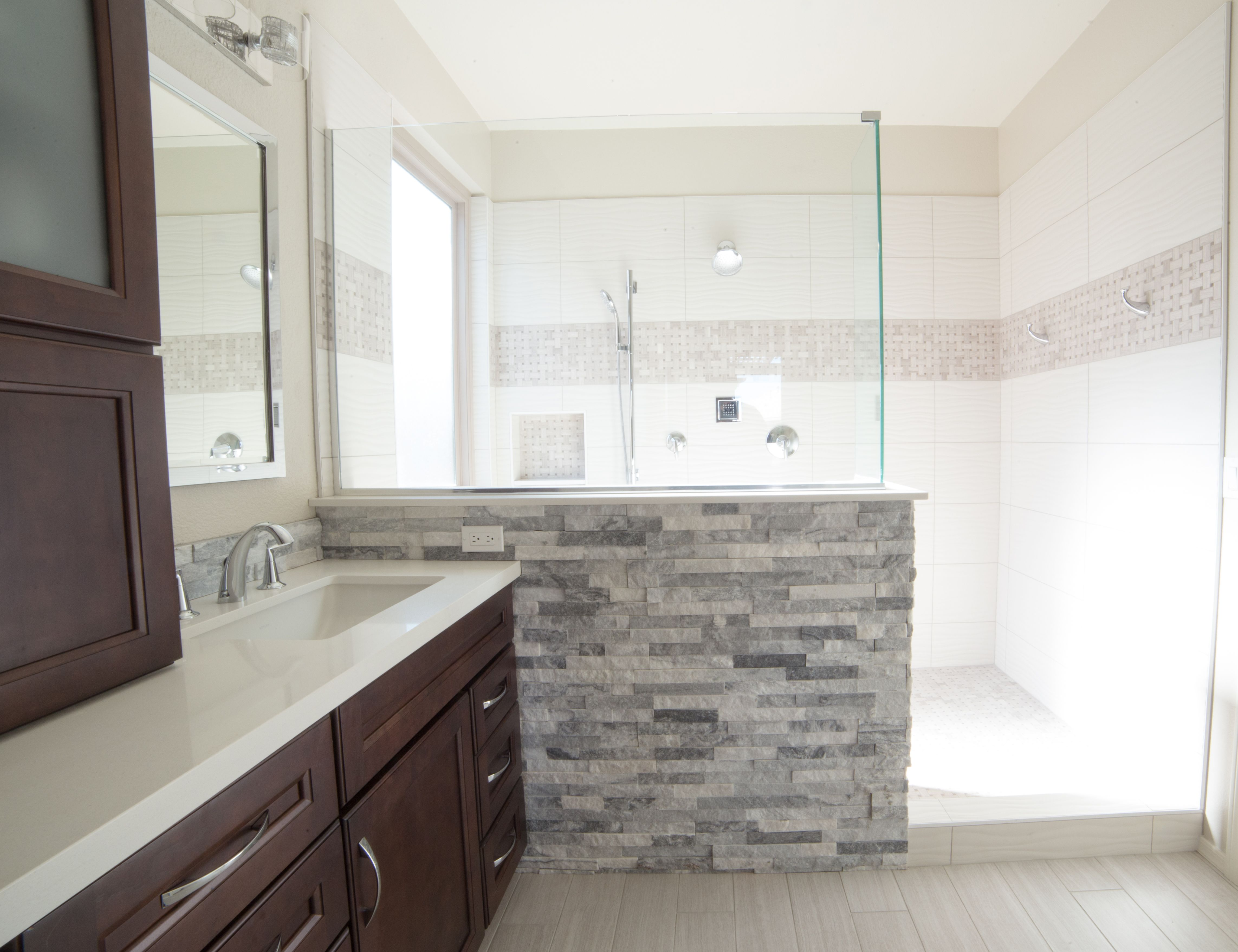 Complete master bathroom remodel adding a spacious walk-in shower ...