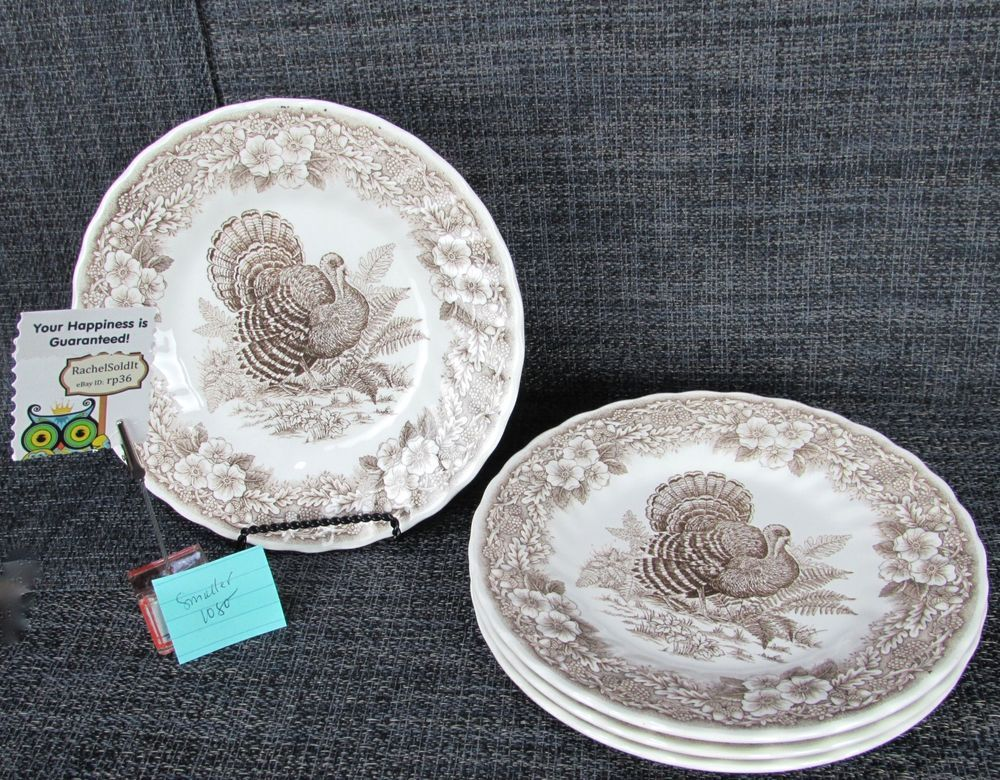 Queens Thanksgiving Set of 4 Luncheon Salad Plates Myott Turkey Toile Brown #2 #Queens & Queens Thanksgiving Set of 4 Luncheon Salad Plates Myott Turkey ...