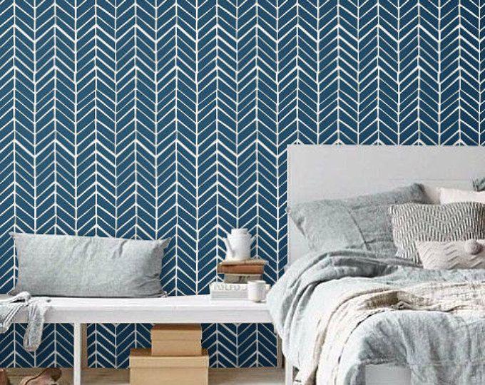 Self Adhesive Peel And Stick Wallpaper Leaf Pattern Print Etsy Herringbone Wallpaper Blue Chevron Wallpaper Chevron Wallpaper