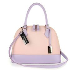 GIORDANO Italian Made Pale Pink & Lilac Leather Structured Designer Tote Handbag