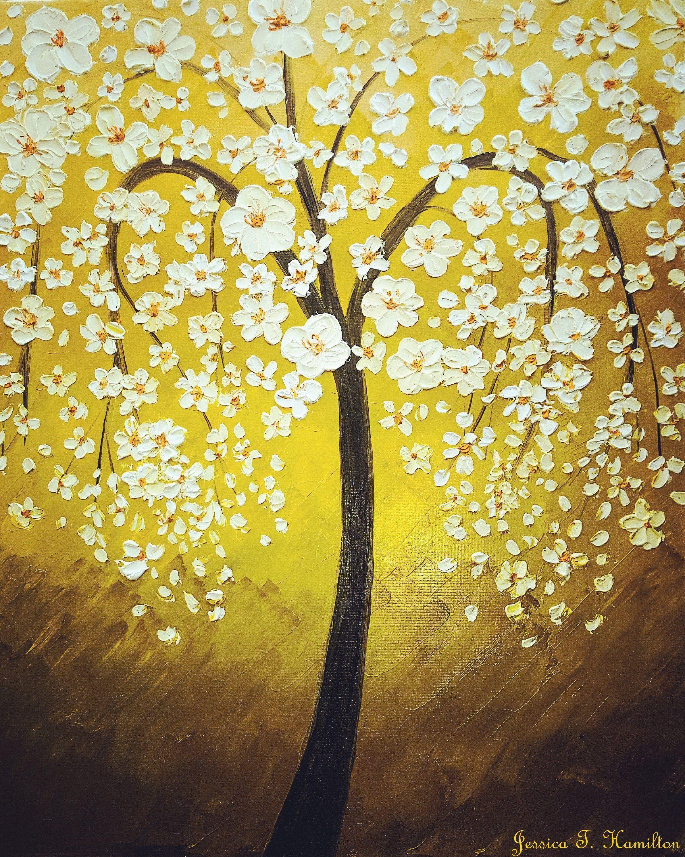 White Cherry Blossom Tree Oils 18x24\