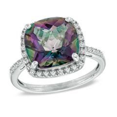 I've tagged a product on Zales: 11.0mm Cushion-Cut Mystic Fire® Topaz and Lab-Created White Sapphire Frame Ring in Sterling Silver - Size 7
