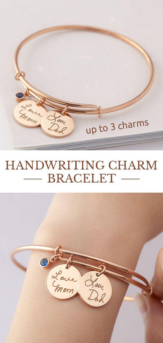 Custom Handwriting Bracelet Engraved Signature Disc Bracelet