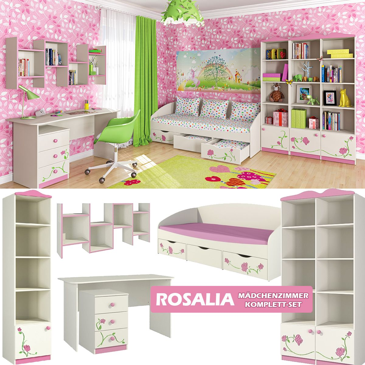Rosalie Madchenzimmer Komplett Set Kinderzimmer Fur Madchen Cremeweiss In 2020 Kinderzimmer Fur Madchen Kinder Zimmer Kinderzimmer