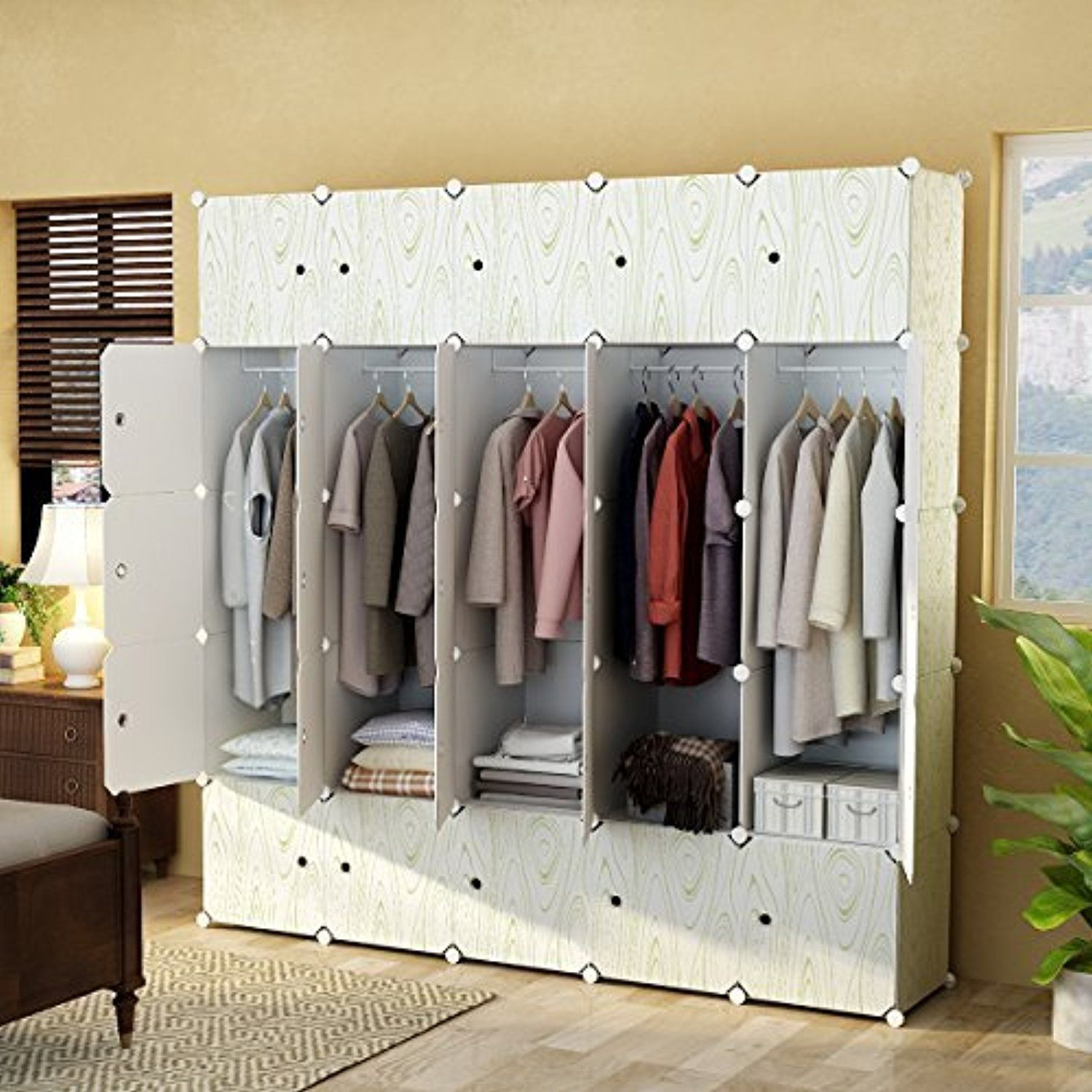 Kousi Portable Closet Clothes Wardrobe Bedroom Armoire Storage Organizer With Doors Capacious Kidshomestore Clothes Closet Portable Closet Wardrobe Closet